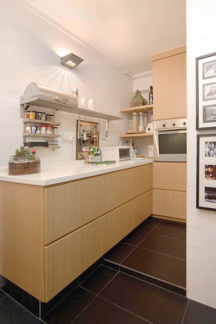 L-shaped kitchen cabinet layout
