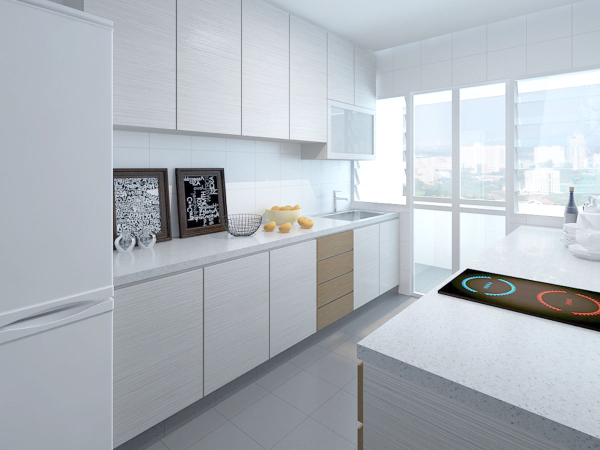 White laminates with quartz countertop